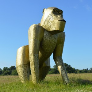 Extra Large Gold Gorilla Sculpture