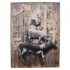 'Piggyback' Farmyard Animals 3D Metal Wall Art