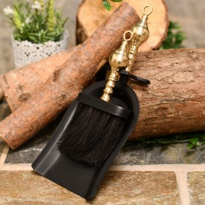 Black and Brass Pan and Brush Set