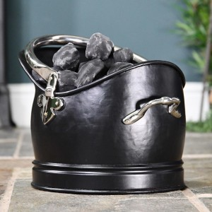 """Hinswick"" Victorian Black Iron and Nickle Coal Bucket Holding Coal"
