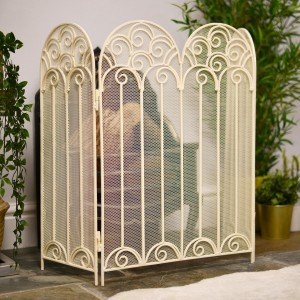 French Cream Victoriana Fire Screen in Situ