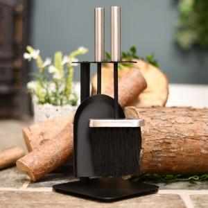 Black & brushed steel fireside brush & pan set