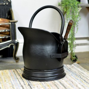 Black Traditional Coal Bucket With Traditional Shovel