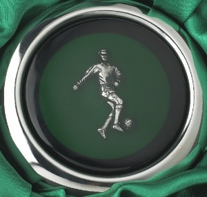 Close-up of the Footballer on the Whiskey Flask
