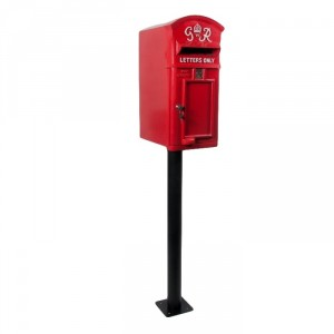 Curved Top GR Post Box & Stand - Red
