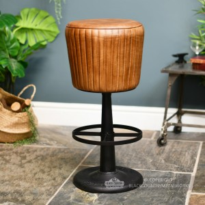 Genuine Brown Leather and Iron Bar Stool