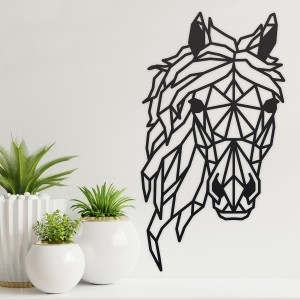 Geometric Horse Head  Wall Art in a Black Finish