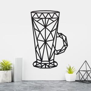 Geometric Steel Latte Glass Wall Art on a Cream Wall