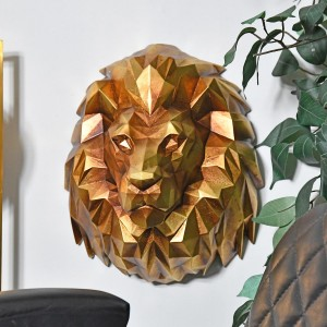 Geometric Lion Head Wall Art in Situ in a Living room