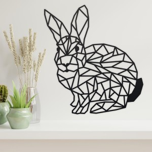 Geometric Rabbit Wall Art in Situ in a Modern Home