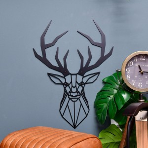 Geometric Stag Wall Art Finished in Black in Situ on a Blue Wall
