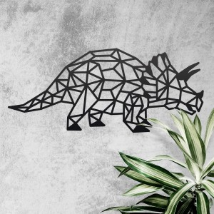 Geometric Iron Triceratops Wall Art on a Rustic Wall