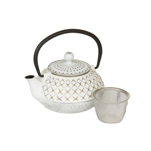 Gold & White Cast Iron Teapot