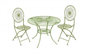 """Hodsgill Croft"" Green Wrought Iron Table Set"