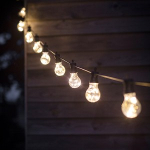 Hanging Bulb Lights in Use at Night