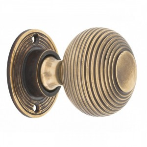 Heavy Duty Antique Brass Beehive Door Knobs