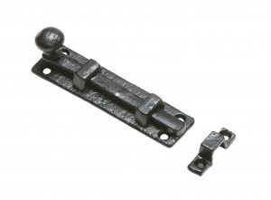 Heavy Duty Traditional Black Iron Straight Door Bolt - With Keeper Plate