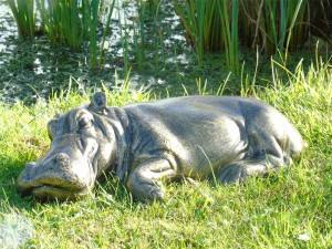 Hippo Lying Down Garden Sculpture