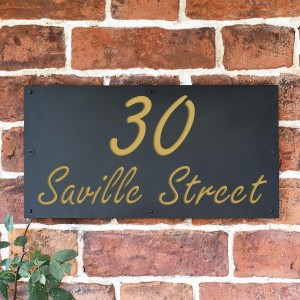 """""""Saville"""" House Sign Finished in a Sand Yellow"""