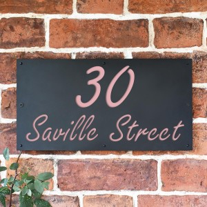 """""""Saville"""" House Sign Finished in a Light Pink"""