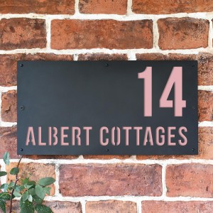 """Light Pink """"Albert"""" House Sign in Situ on the Wall"""