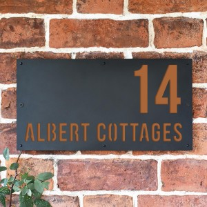 "Orange Brown ""Albert"" House Sign in Situ on the Wall"