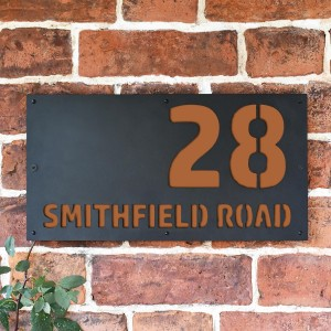 """Smithfield"" House Sign Finished in a Orange Brown"