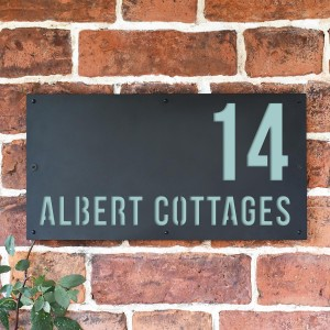 """Pastel Turquoise """"Albert"""" House Sign in Situ on the Wall"""