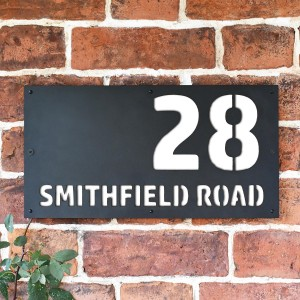 """""""Smithfield"""" House Sign Finished in a White"""