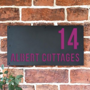 """""""Albert"""" House Sign Finished in Purple"""