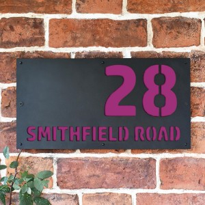 """""""Smithfield"""" House Sign Finished in a Purple"""