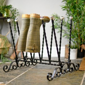Hand crafted six pair welly rack