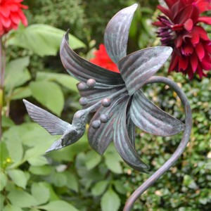 Humming Bird Verdigris Garden Sculpture