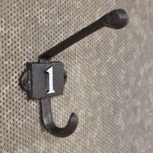 Cast Iron Coat Hook with the Number 1