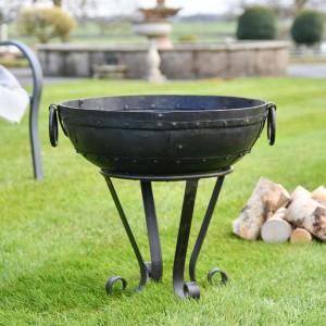 Iron Kadai Fire Bowl in Situ in the Garden