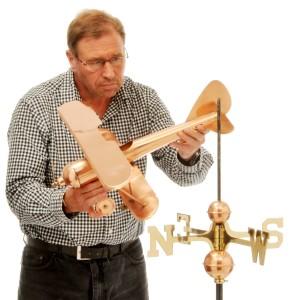 Copper Aeroplane or Biplane Weathervane