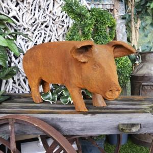 Large Rustic Metal Pig Sculpture