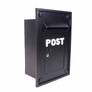 Black Kensington post box for brick work