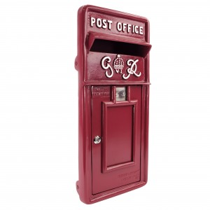 King George Rex Post Box Front - Cherry Red