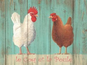 """Classic """"Le Coq et Poule"""" French Metal Sign"""