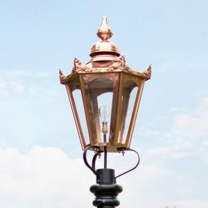 Large Copper Hexagonal Victorian Lamp Post Top