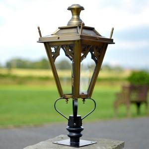 Brass Gothic Pillar Light and Lantern Set in Situ on a Driveway