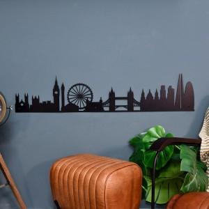 London Silhouette Wall Art on a Blue Wall