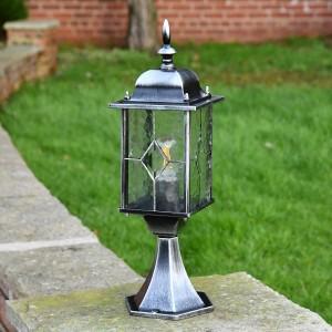 """Marsden"" Leaded Glass Pillar Light in an Antique Silver FinishSilver"