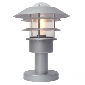 Matte Silver Contemporary Pillar Light 31cm