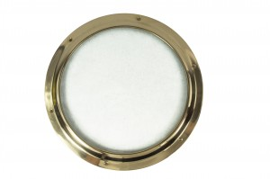Polished Brass Port Hole with Frosted Glass