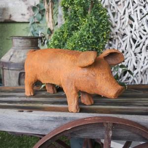 Medium Rustic Cast Iron Piglet Sculpture