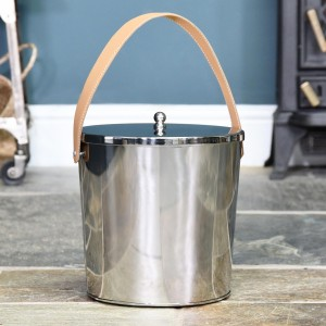 Modern Ash Bucket Finished in a Stainless Steel