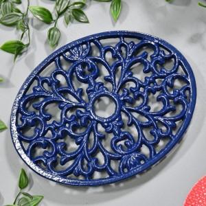 Blue Cast Iron Oval Trivet in Situ