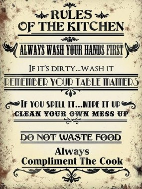 """Rules of the Kitchen"" Metal Sign"